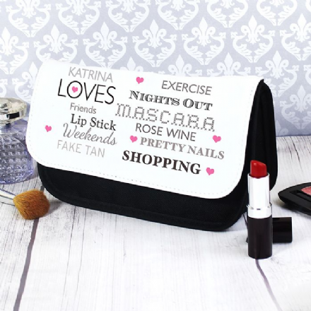 Personalised Top Ten Loves Make Up Bag